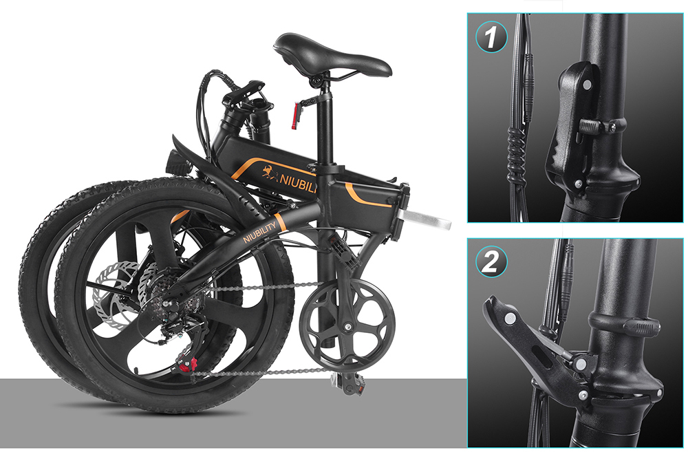 NIUBILITY B20 Electric Moped Folding Bike 20 inch 42V 10.4Ah Battery 40km -50km Mileage 350W Motor Max 25km/h  Double Disc Brake Variable Speed System SHIMANO 6-Speed rear derailleur LED Light - Black
