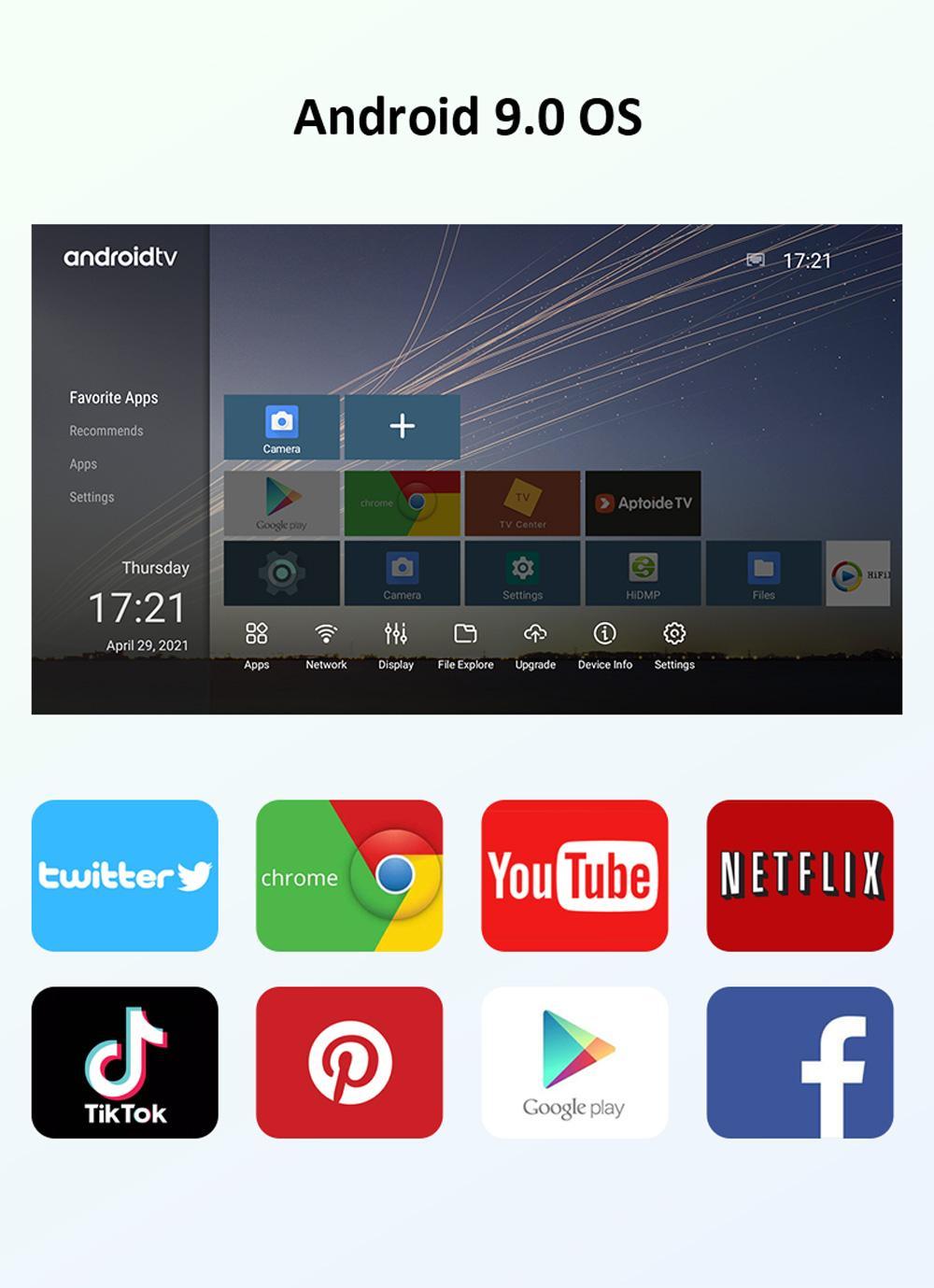 Hi96 V3 TV BOX Hi3798M V310 64Bit Android 9.0 4K TV Box 2.4G + 5G WIFI 100M LAN