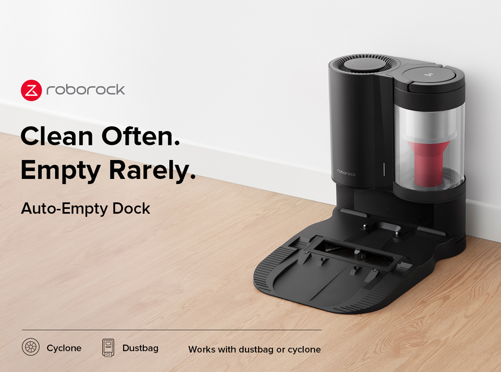 Roborock Auto-Empty Dock for Roborock S7 Automatic Suction Station Intelligent Dust Collection Constant Suction Power 1.8L Dust Bag Support Allergy Care - Μαύρο