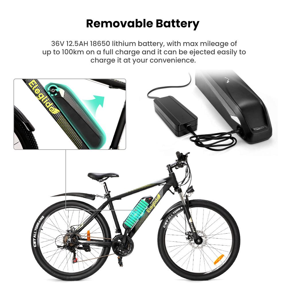 ELEGLIDE M1 PLUS Electric Bike 27.5 inch Mountain Urban Bicycle 250W Hall Brushless Motor SHIMANO Shifter 21 Speeds 36V 12.5Ah Removable Battery 25km/h Max speed up to 100km Max Range IPX4 Waterproof Aluminum alloy Frame Dual Disk Brake - Black