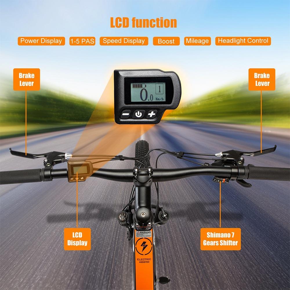 Fafrees KRE27.5 Anti-slip Tire Electric Bike 250W 36V 10Ah Lithium-ion Battery 25km/h Shimano 7 Speed Gears Disc Brakes Bright Headlight - Black Orange