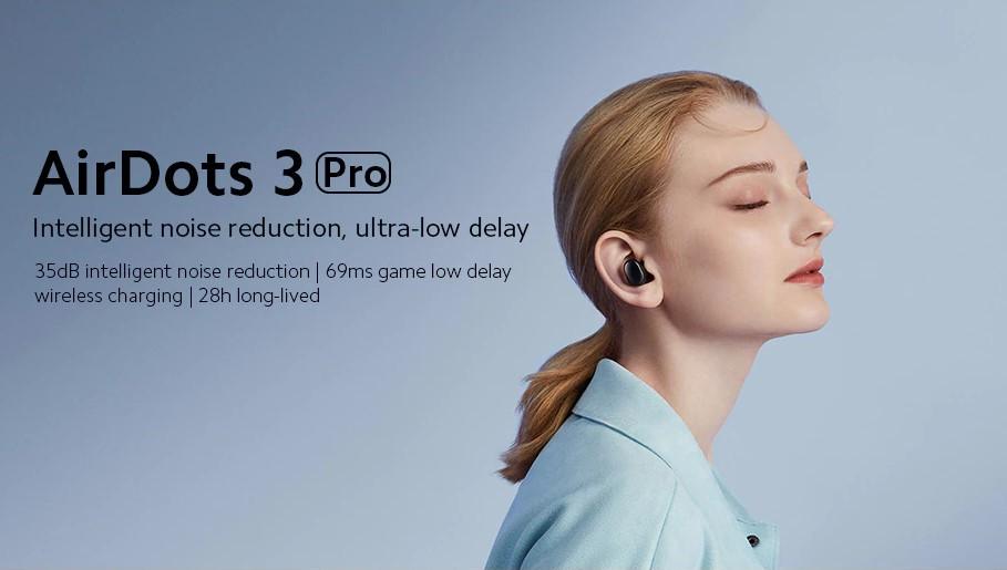 Xiaomi Redmi AirDots 3 Pro AI Adaptive Noise Cancellation Bluetooth5.2 TWS Earbuds Wireless Charging - Black