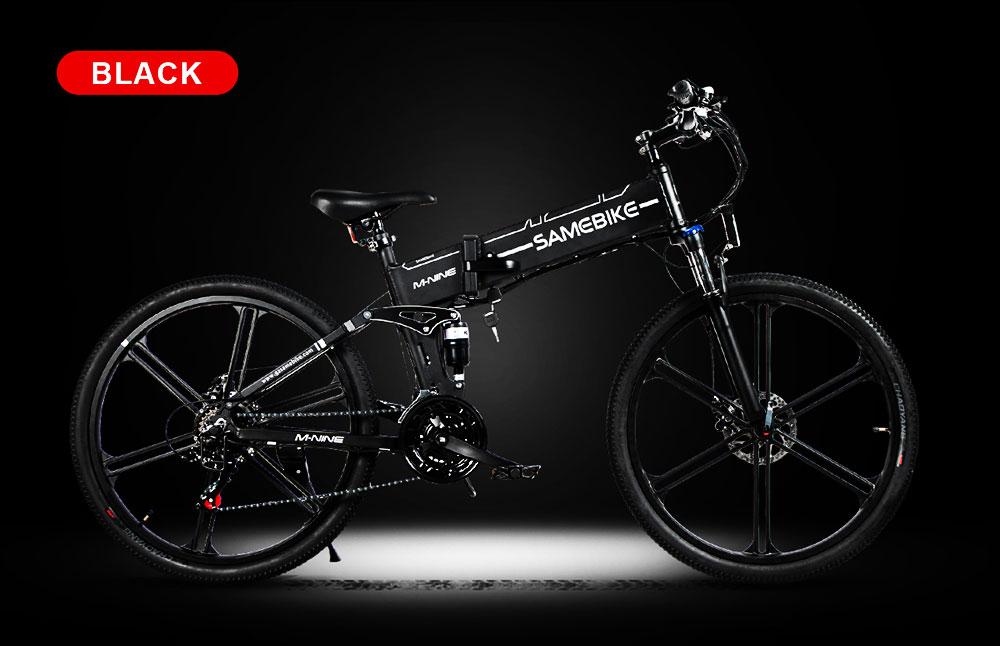 Samebike LO26 II Smart Folding Electric Moped Bike 500W Motor 10Ah Battery Max 25km/h SHIMANO 21 Gear Pure electric mode 35-40km Max range 26 Inch Magnesium Alloy Rim Wheel - Black