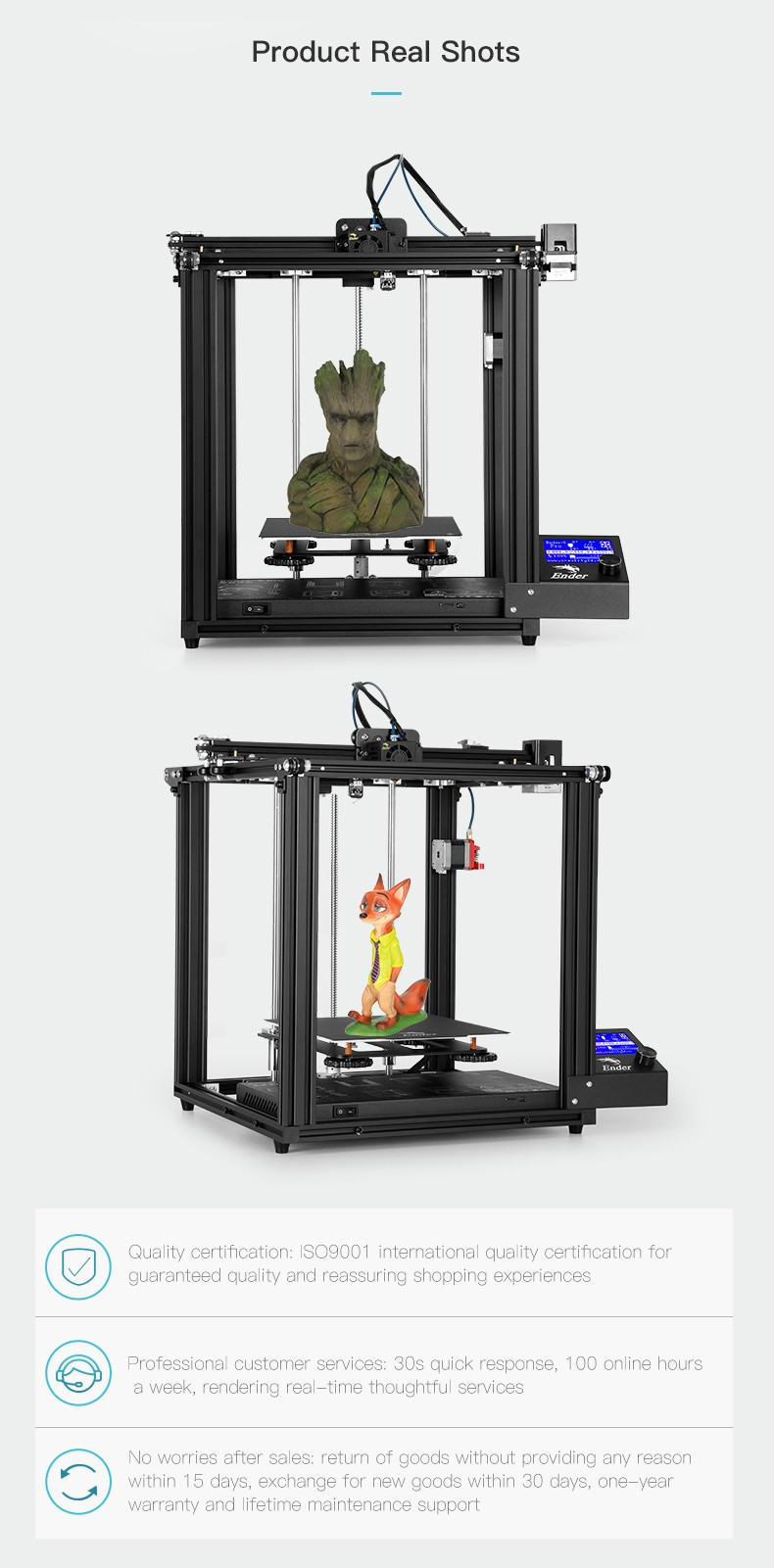 Official Creality Ender 5 Pro 3D Printer, Upgrade Silent Mainboard with Metal Extruder, Capricorn Premium XS Bowden Tube, Dual Y-axis