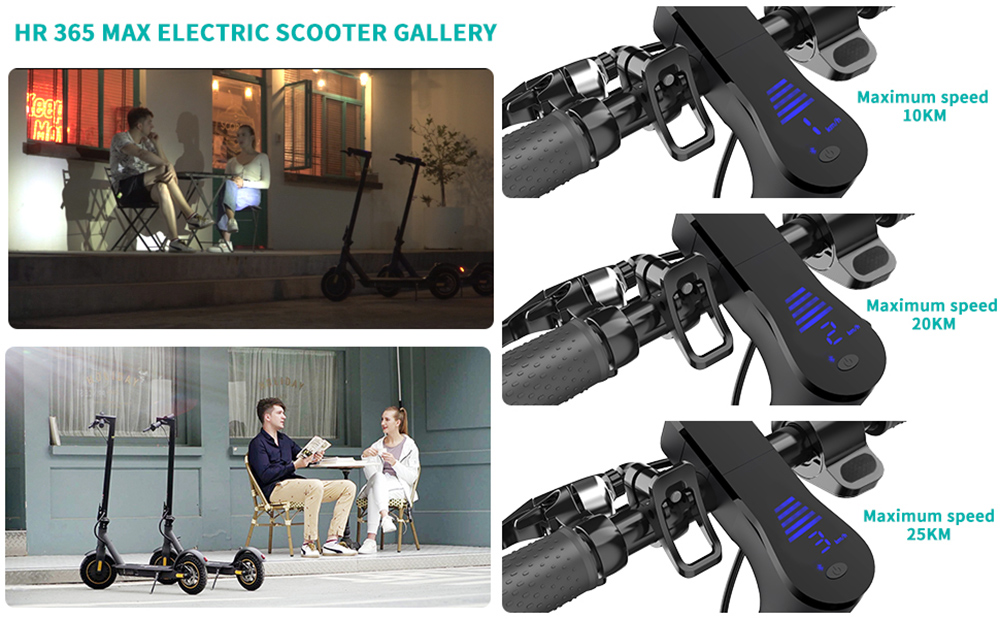 HappyRun HR365 MAX Folding Electric Scooter 10 inch HoneycombTire 7.8Ah Battery 350W Brushless Motor 25km/h Max Speed up to 26KM Range Electronic + Disc Brake - Black
