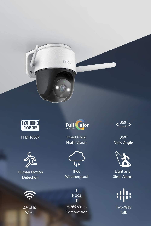 Színes éjjellátó kültéri biztonsági kamera reflektorral és hangriasztóval, 2.4 G FHD panorámakamera, időjárásálló IP66