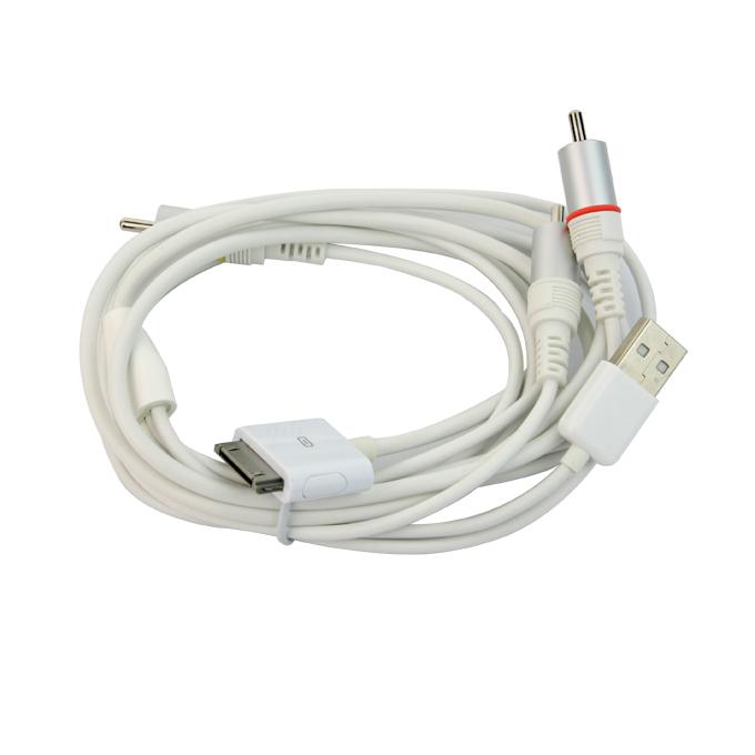 Új kompozit AV kábel az iPhone-hoz 4 4S 3G 3GS iPod Touch - fehér