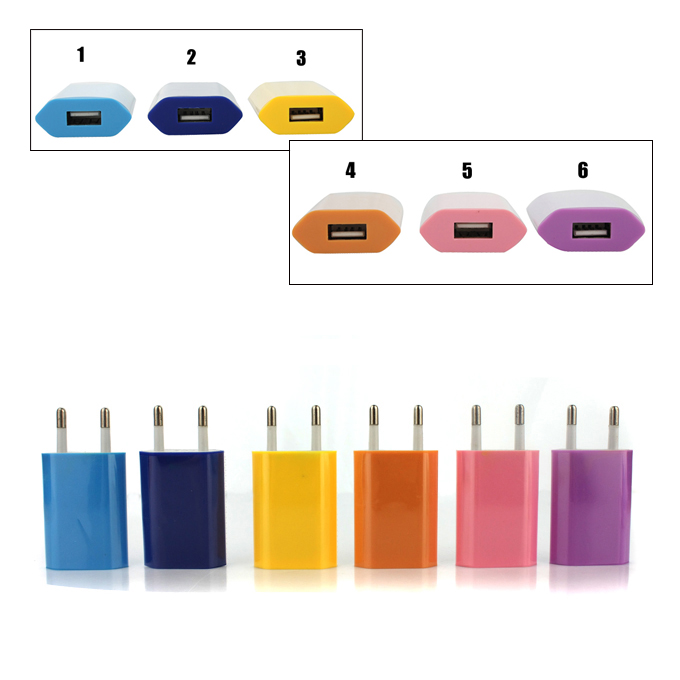 USB Travel Wall Charger Adapter EU Plug for iPhone 5 4 4S/iPad Mini/ New iPad 3/iPad 2/iPod/Google Nexus 5 (mix color)