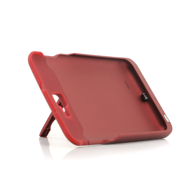 3000mAh External Backup Battery Charger Protective Silicon Case with Holder for Galaxy Note i9220 - Red