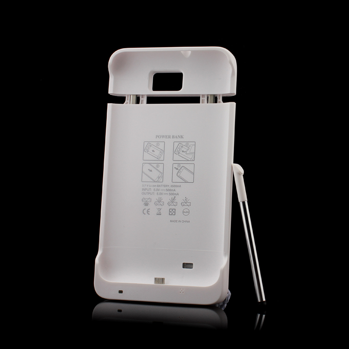 3500mAh Exteral Battery Case With Touch Pen For Samsung Galaxy Note White