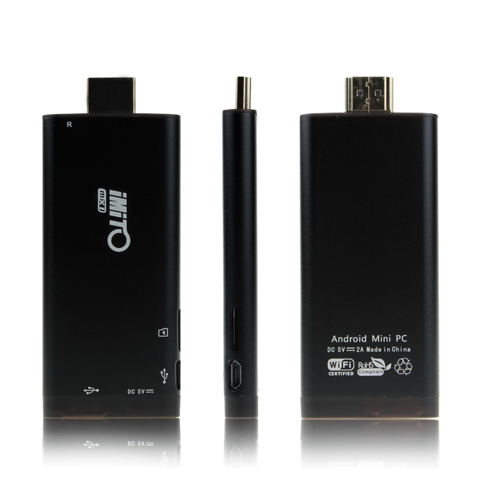 iMito MX1 RK3066 1.6Ghz Cortex A9 Dual Core Android 4.1 TV BOX Dongle 1GB/8G Support 1080P Bluetooth OTG HOST HDMI - Black