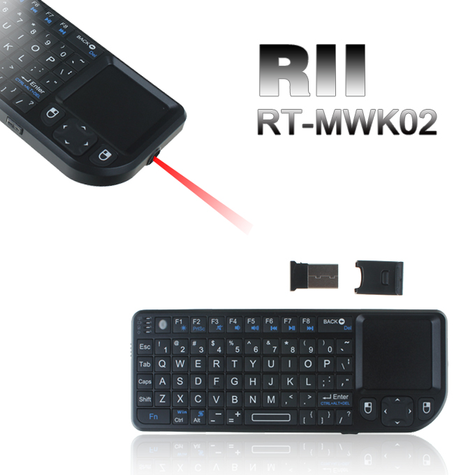 Rii Rt Mwk02 Mini Wireless Keyboard Mouse Touchpad Presenter Laser For Ipad Iphone Pc Mac Ps3 Geekbuying Com
