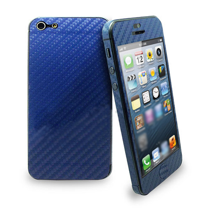 New Fashion Full Body Wrap Carbon Fibre Skin Sticker Vinyl Decal for iPhone 5S 5 - Deep Blue
