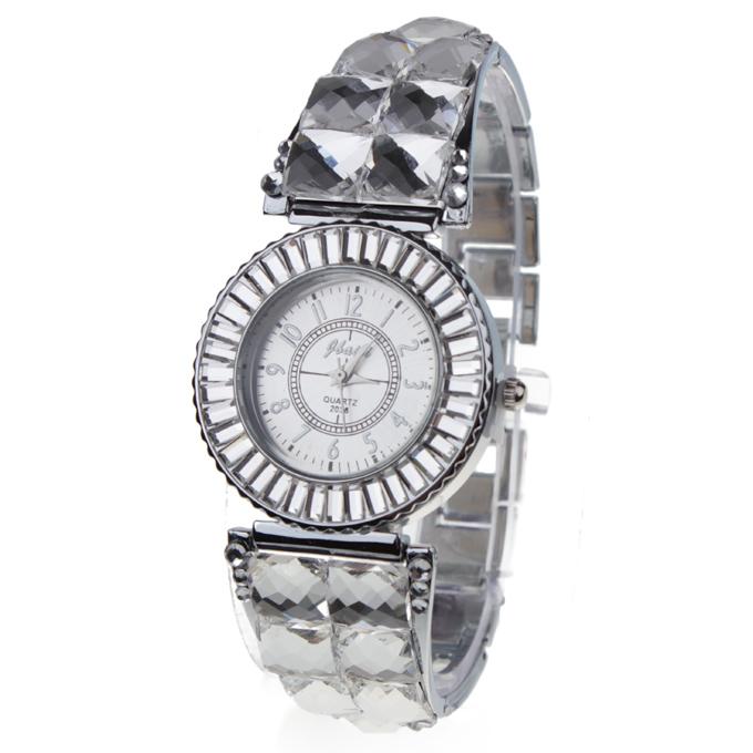 Женские часы со стразами Числа Круглый циферблат стальной ремешок для часов - серебро