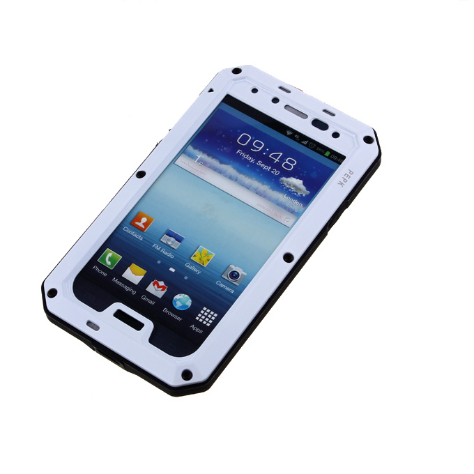 PEPK Extreme Aluminum Metal Shockproof Cover Case with Gorilla Glass for Samsung Galaxy S4 IV i9500 - White