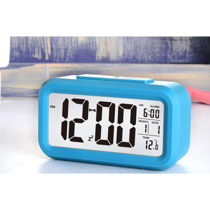 LED Backlight Lazybones Alarm Clock with Photosensitive Sensor & Plus Temperature - Blue фото