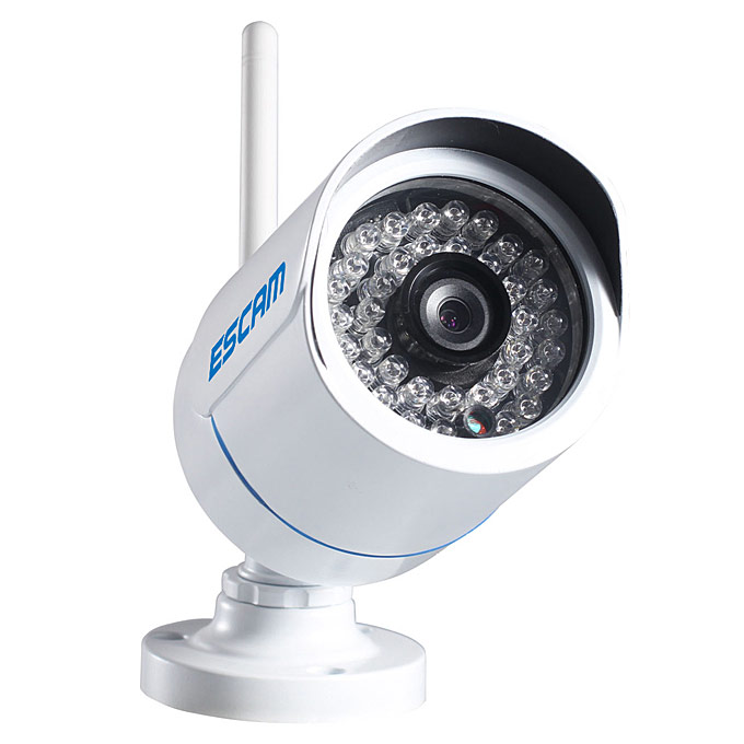 "ESCAM Q6320WiFi 1 / 4 ""CMOS 1.0MP WiFi 720P 24pcs IR LED Waterdicht Metalen Behuizing Beveiliging CCTV IP Camera Met ONVIF P2P - Wit"
