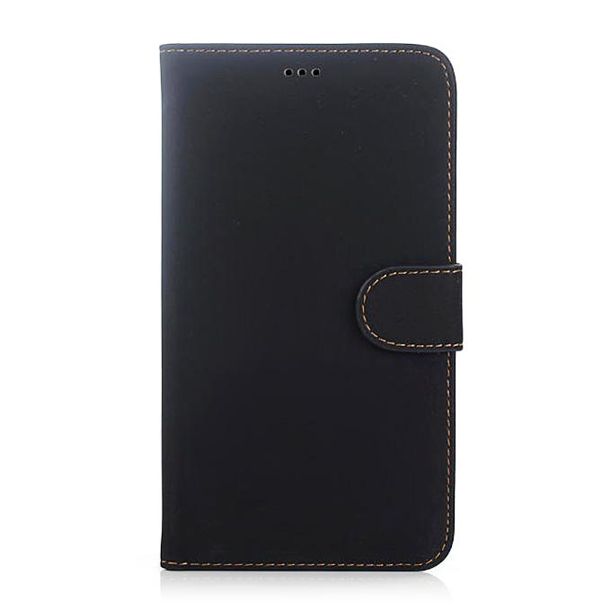 Νέα γνήσια ρετρό κάρτα δερμάτινη προστατευτική θήκη για Samsung Galaxy Σημείωση 4 - μαύρο
