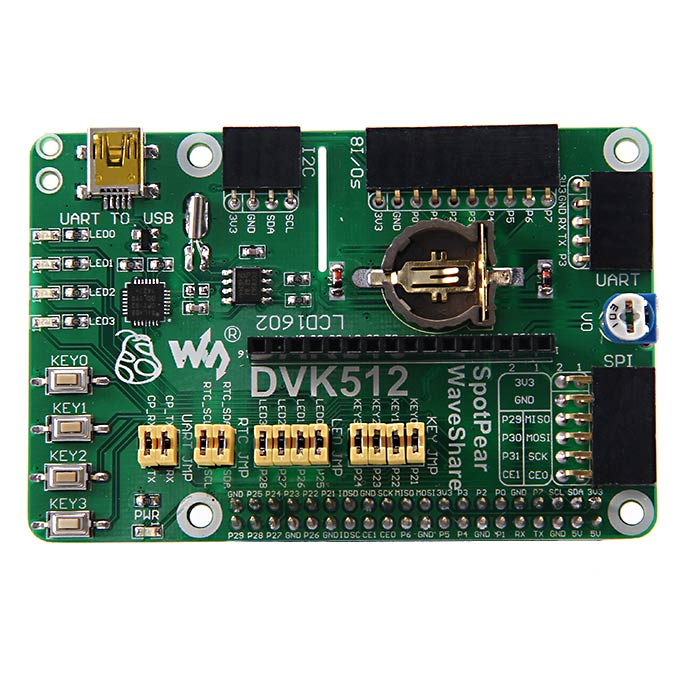Raspberry Pi RPi Model B+ Expansion Evaluation DVK512 Board with UART 8I/Os SPI I2C LCD USB Various Interface