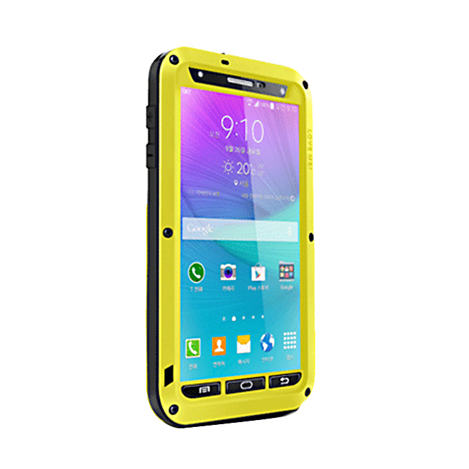 Lovemei Aluminum Powerful Shockproof Gorilla Glass Metal Case Protective Cover for Galaxy Note4 N9100 - Yellow фото