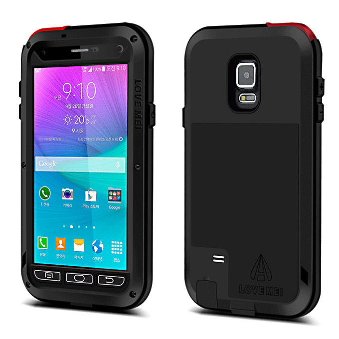 Lovemei Aluminum Powerful Shockproof Gorilla Glass Metal Case Protective Cover for Galaxy Note4 N9100 - Black