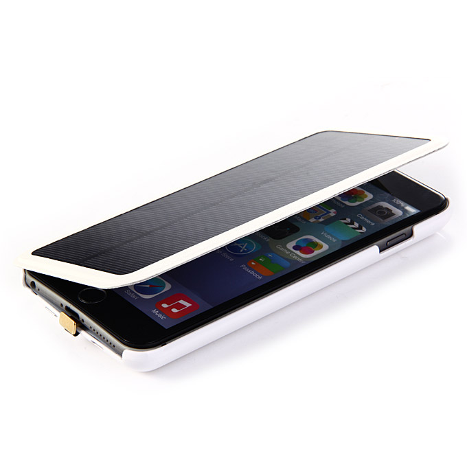 4200mAh Solar Charger External Backup Battery Case Power Bank for iPhone 6 Plus White