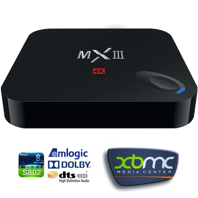MXIII Amlogic S802 Quad Core 2.0GHz Android 4.4.2 Mini TV Box HDMI HDD Player 2G/8G Built in XBMC Dual Band 2.4G/5G WIFI Bluetooth Miracast/DLNA