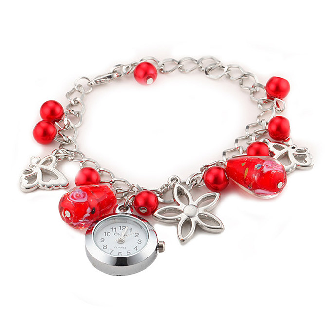 YR WH151 Fashion Round Pendant Dial Women Quartz Bracelet Watch - Red