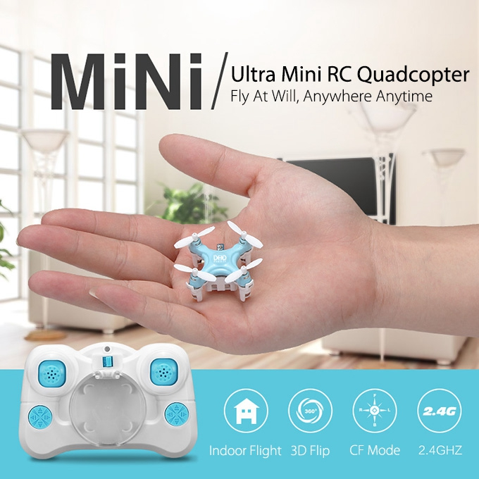 Universally Tiniest DHD D1 Quadcopter Pocket Hand Throw 4CH 2.4G 6 Axis Gyro CF Mode RC Drone Mode 2 - Blue