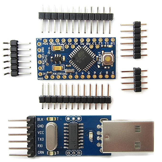 Pro Mini ATmega328P 5V/16MHz Development Board + CH340G USB to TTL Programmer Module for Arduino