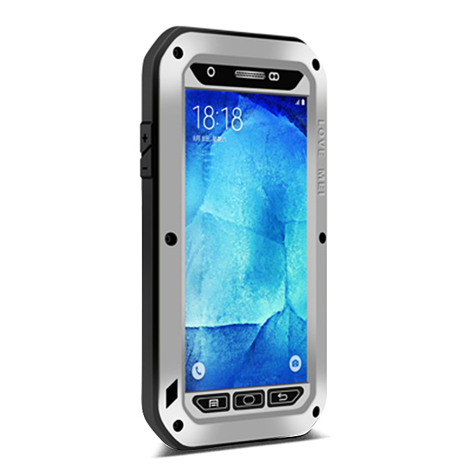 shockproof Dirt Glass - With Silver Case Samsung Powerful Galaxy Protective Love A8 Gorilla Mei Corning For