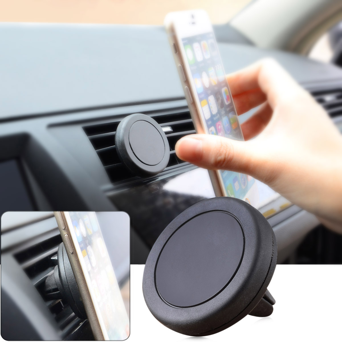 Magnetic Cell Phone Mount >> Universal Xwj 1503 360 Degrees Rotating Magnetic Mobile Phone Mount Car Air Outlet Holder Black