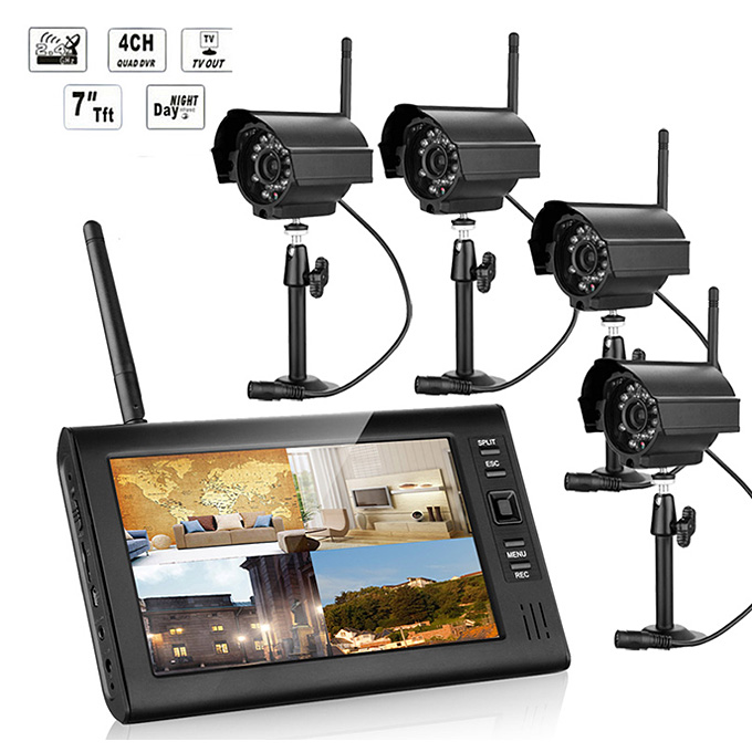 Купить со скидкой SY602E14 Digital 2.4G 7 Inch Wireless Cameras Audio Video Monitors 4CH DVR Security System With 4 IR