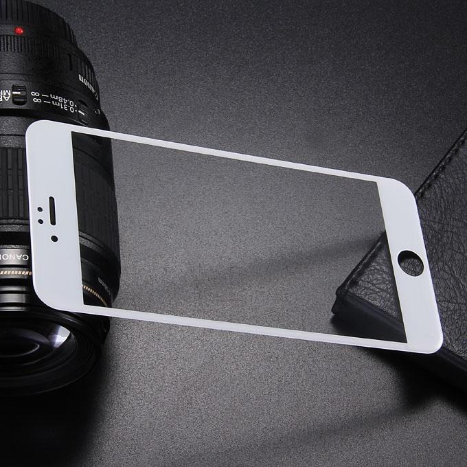 Makibes 3D Ívelt felületű keményített üveg 0.33mm Képernyővédő fólia borításának élkerete iPhone 6 Plus 5.5 inch-White