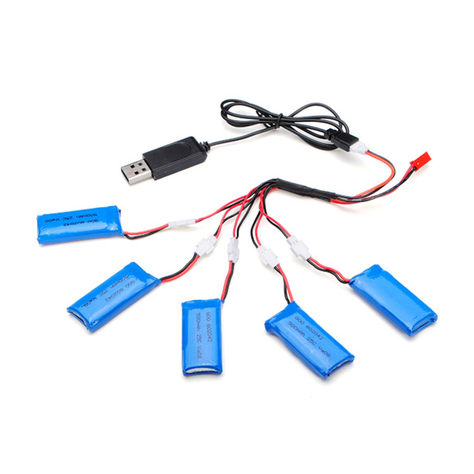 H107C-005 5x3.7V 500mAh Battery 2 to 5 Cable USB Charging Cable