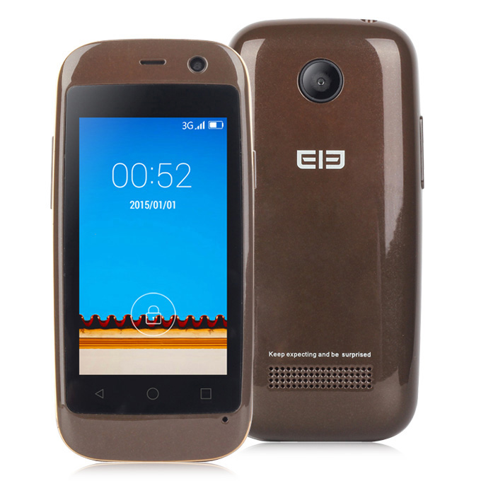 Elephone Q 2.45inch Android 4.4 OS 512MB RAM 4GB ROM Smartphone MT6572W Dual Core 3G GPS Mini Phone Dual Camera - Brown