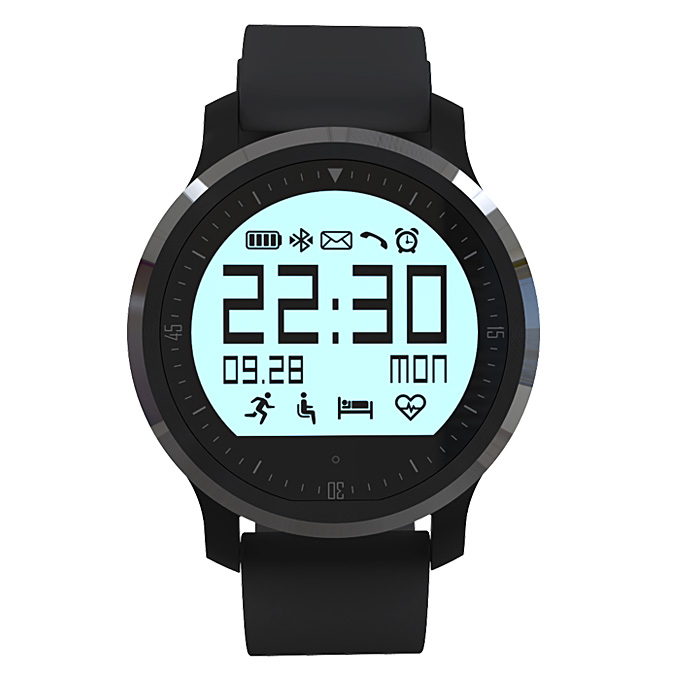 Makibes F68 Smart Sports Watch IP67 Heart Rate Tracker Sleep Monitor Pedometer Sedentary Reminder Call Reminder - Black