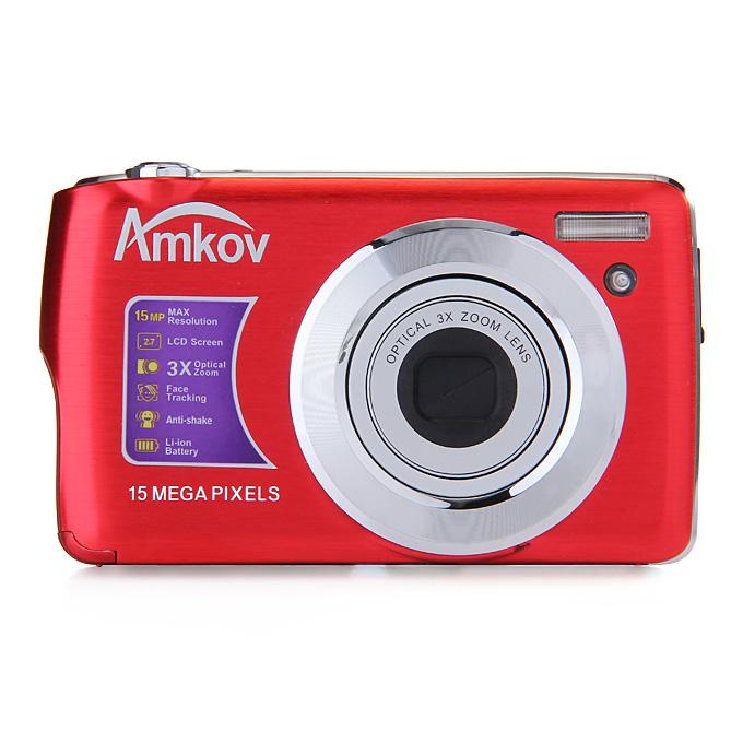 Amkov 2.7inch LCD 15.0MP Digital Camera 4X Digital Zoom AntiShake Smile Capture - Red