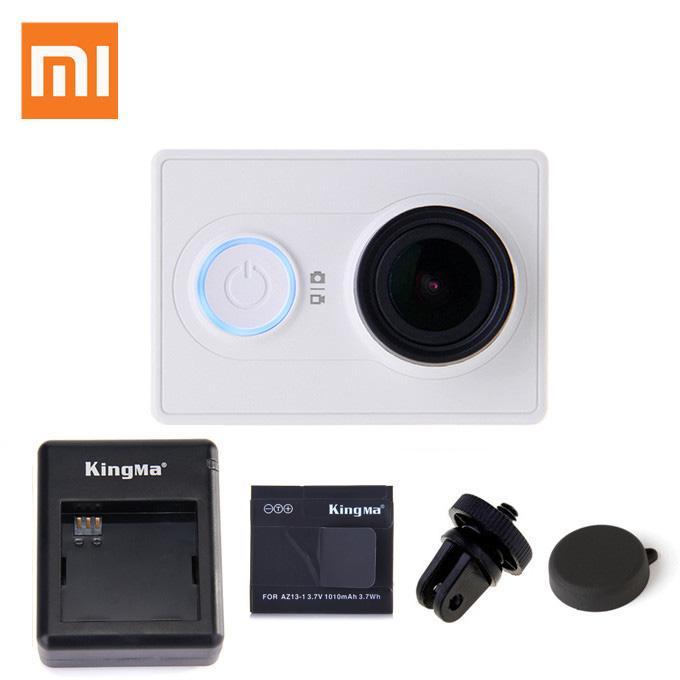 Xiaomi Yi Xiaoyi Z23L Version Action Camera Bundle Deal with Kingma Waterproof Case+ Spare Battery + Dual Charger + Lens Cap + Tripod Adapter - White (Basic