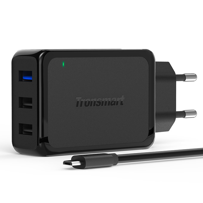 Qualcomm Certified Tronsmart 42W 3 Ports Premium Design Quick Charge 2.0 Wall Charger with 1.8M Micro USB Cable for Samsung/Sony/HTC - EU Plug