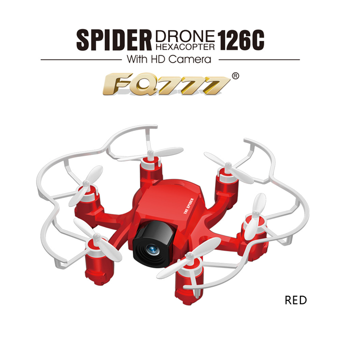 FQ777-126C  Spider Drone 2MP HD Camera 3D Roll One Key to Return Dual Mode 4CH 6Axis Gyro RC Hexacopter - Red