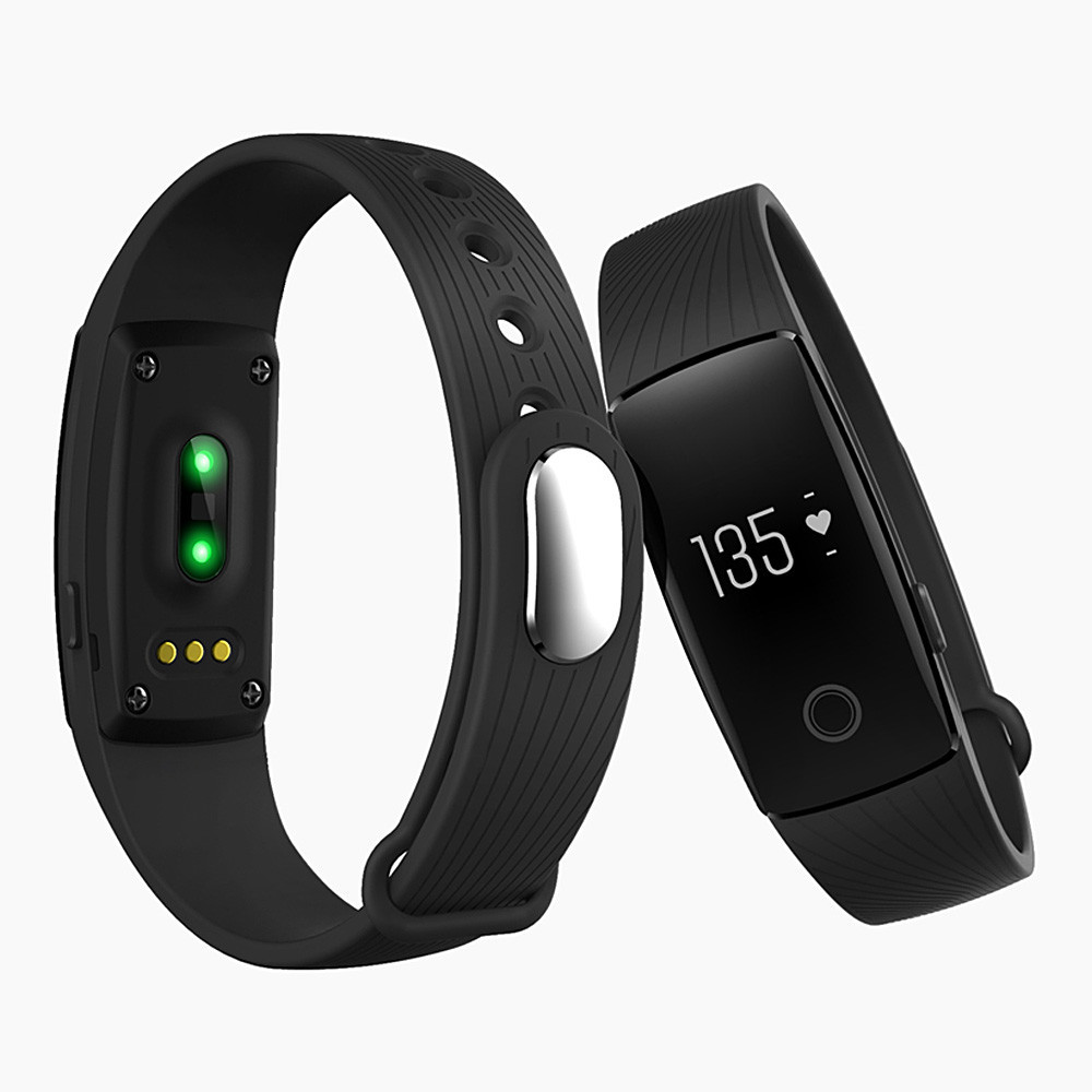 Makibes ID107 Smart Bracelet BT4.0 Heart Rate Monitor Smart Band Pulse Sports Fitness Tracker for Android iOS - Black
