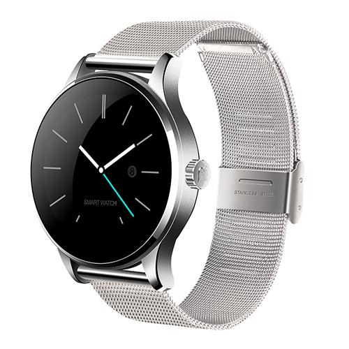 Makibes K88H Smart Bluetooth Watch Heart Rate Monitor Smartwatch MTK2502 Siri Function Gesture Control For iOS Andriod (Stainless Steel Band) - Silver