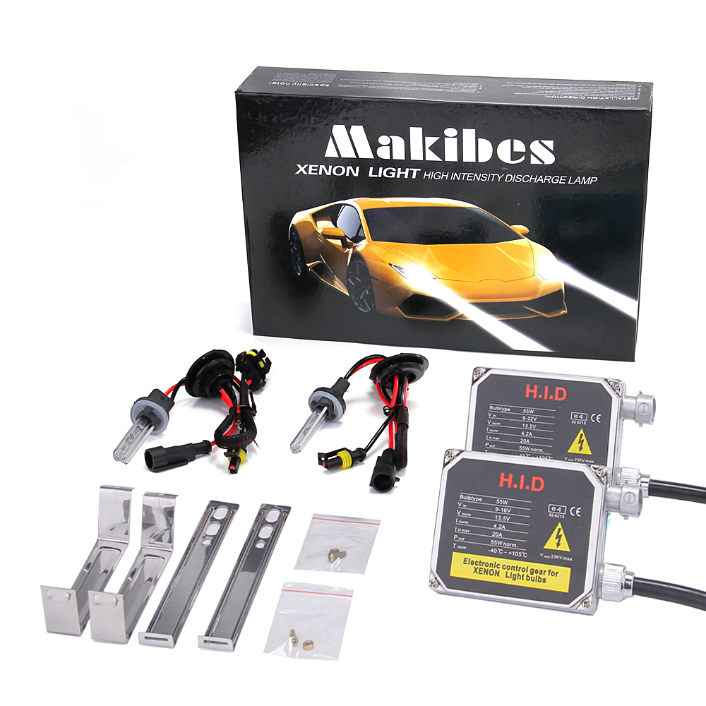 Makibes 6000K 880/881 55W 12V F250 Xenon HID Kit Car Headlight Xenon Bulb Slim Ballast - Black + Silver