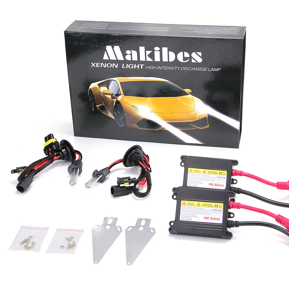 Makibes 6000K H3 DC250 55W 12V Xenon HID Kit Car Headlight Xenon Bulb Slim Ballast - Black + Silver