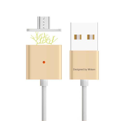 Wsken μαγνητικό κράμα Micro USB καλώδιο φόρτισης για το Android τηλέφωνα και τα δισκία - Χρυσή