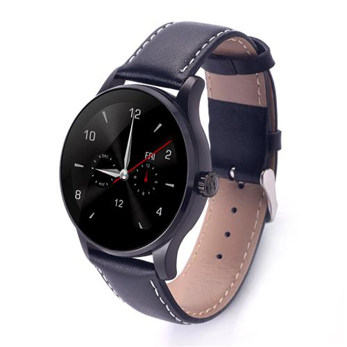 Makibes K88H BT4.0 Smartwatch MTK2502C Heart Rate Monitor Siri Function Gesture Control with Leather Band - Black