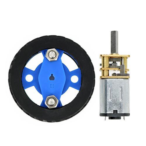N20 DC Gear Motor Large Torque Motor + Smart Car Model Wearable Rubber Wheel 47X12mm for Smart Car