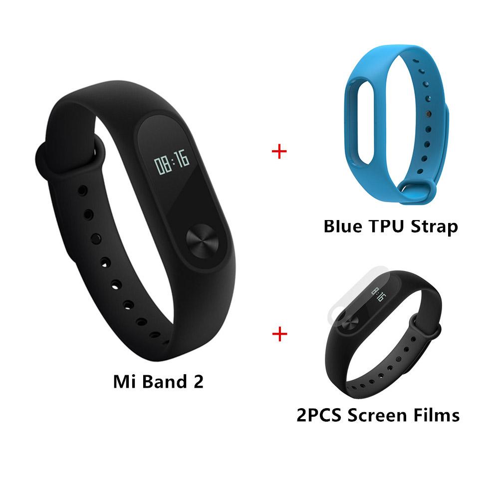 Package G]Original Xiaomi Mi Band 2 Smart Bracelet + TPU Strap (Blue) + Protective Screen Films (2PCS
