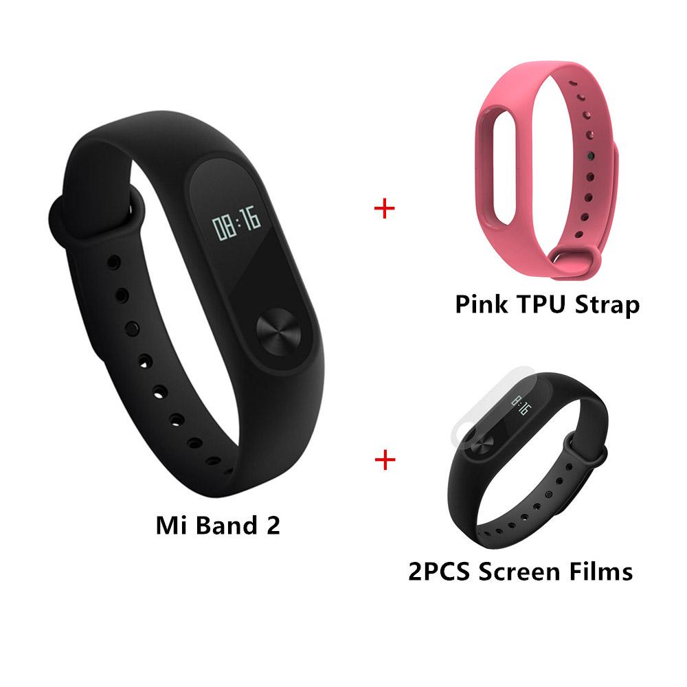 Package B]Original Xiaomi Mi Band 2 Smart Bracelet + TPU Strap (Pink) + Protective Screen Films (2PCS